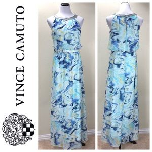 NWT Vince Camuto Blue & Aqua Maxi Dress
